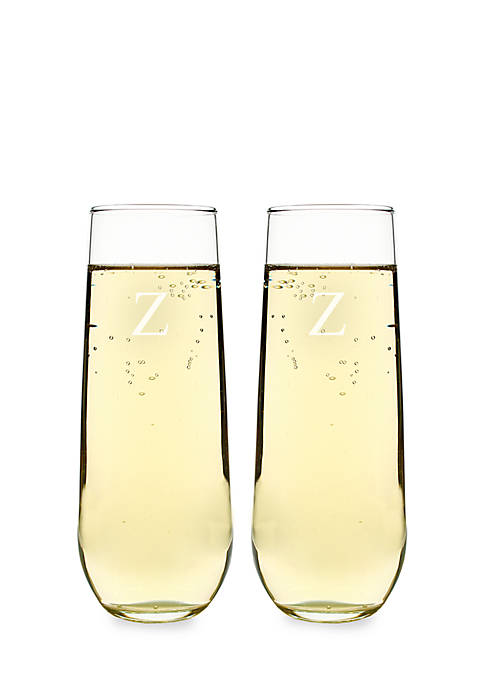 Personalized Stemless Champagne Toasting Flutes
