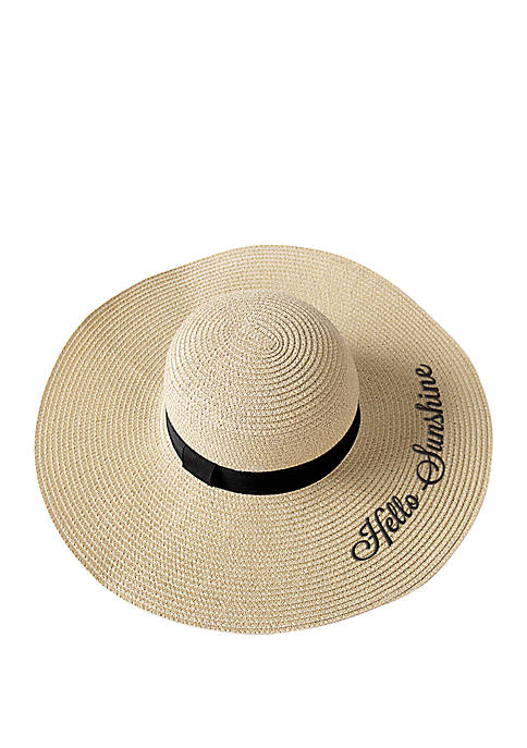 Cathy's Concepts Hello Sunshine Natural Straw Sun Hat