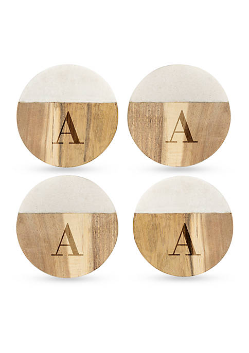 Cathy's Concepts Marble & Acacia Wood Coasters Set