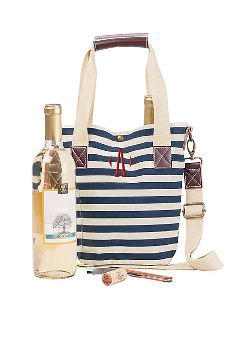 Cathy's Concepts Personalized Nautical Wine Tote w/ Wine