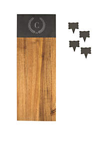 Acacia & Slate Charcuterie Serving Board with Slate Markers
