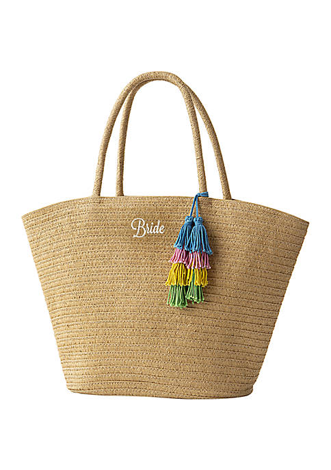 Cathy's Concepts Bride Straw Tote