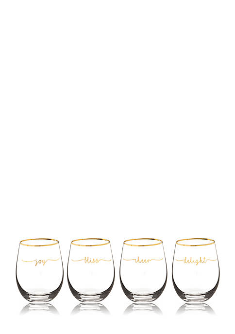 Cathy's Concepts Gold Rim Bliss Wine Glasses