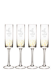 Oh What Fun 8 oz. Gold Dot Contemporary Champagne Flutes, Set of 4