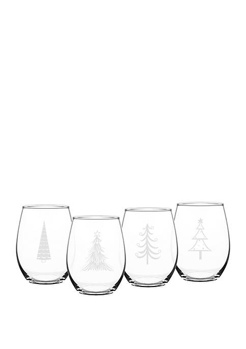 Holiday Trees Stemless Wine Glass Set
