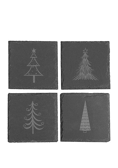 Cathy's Concepts Holiday Trees Slate Coaster Set