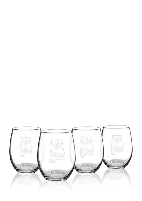 Cathy's Concepts My State Stemless Wine Glasses