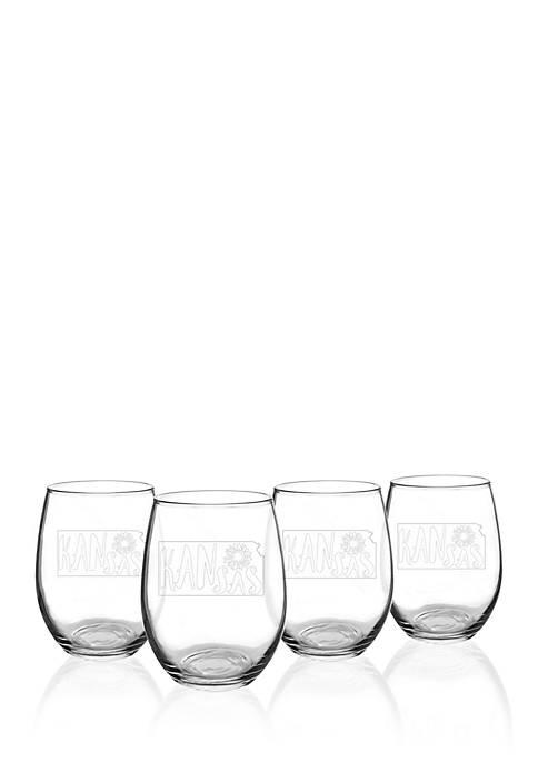 My State Stemless Wine Glasses - Kansas