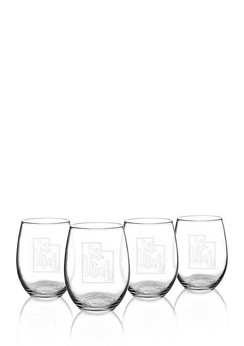 My State Stemless Wine Glasses - Utah