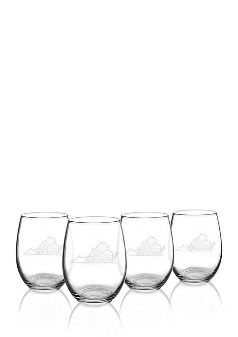My State Stemless Wine Glasses - Virginia