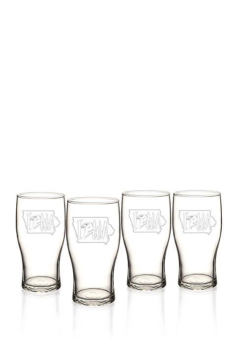 My State Beer Pilsner Glass Set - Iowa