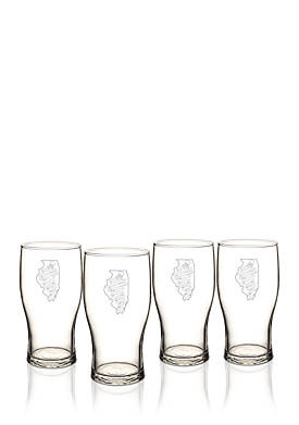 My State Beer Pilsner Glass Set - Illinois