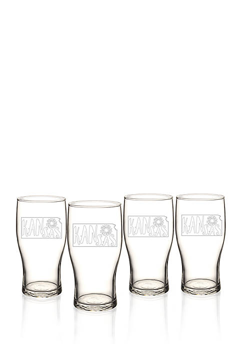 My State Beer Pilsner Glass Set - Kansas