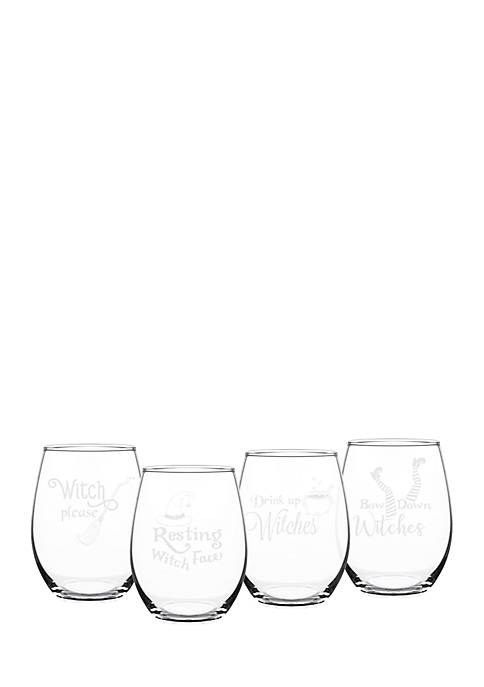 Cathy S Concepts Witch Please 21 Oz Stemless Wine Glasses Set Of 4 Belk