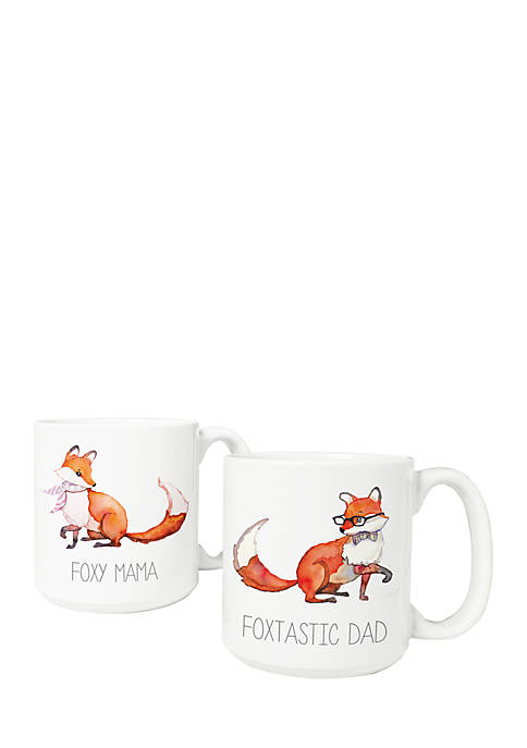 Foxtastic Dad and Foxy Mama 20 oz Large Coffee Mugs (Set of 2)