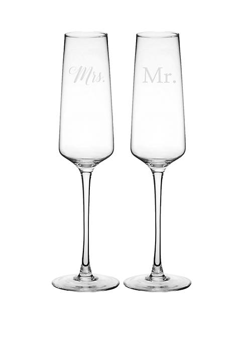 Cathy's Concepts Mr and Mrs Wedding Champagne Glasses