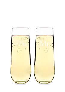 Mr. & Mrs. Stemless Champagne Toasting Flutes