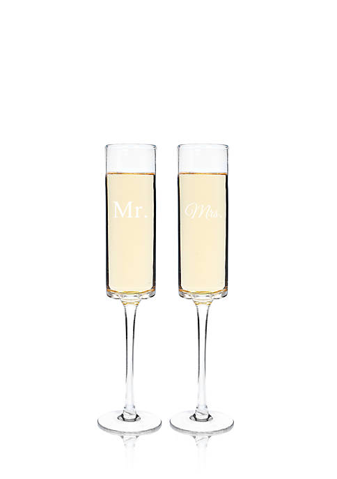Cathy's Concepts Mr. & Mrs. Contemporary Champagne Flutes