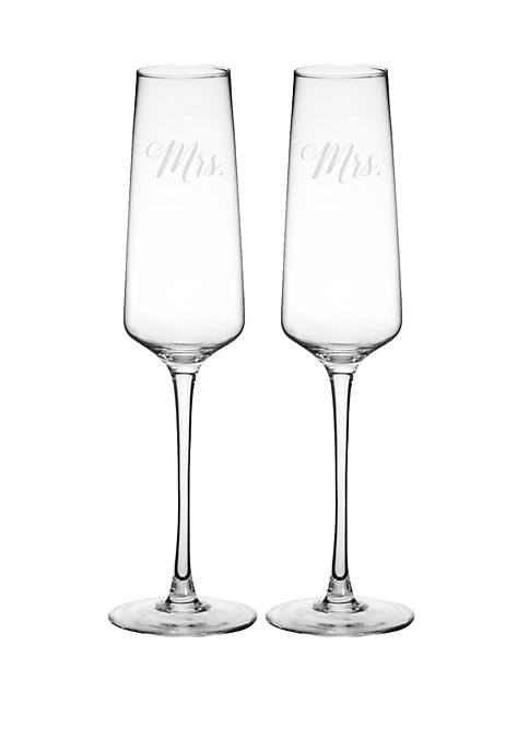 Cathy's Concepts Mrs and Mrs Wedding Champagne Glasses