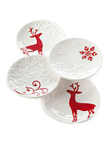 Winter Appetizer Plates, Set of 4