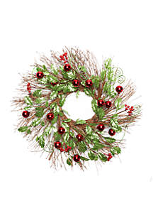 Santa Stop Here Glitter Holly & Berries Wreath