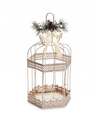 Home accents all that glitters large glittered bird cage decor