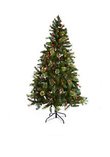 7-ft. Pre-Lit Mixed Tip Multi Color Lights Fraiser Fir Tree