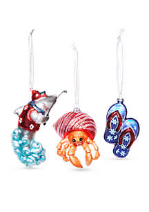 Santa Claws Surf's Up Ornament, Set of 3