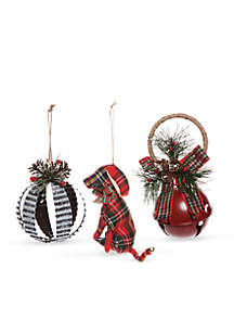 Country Christmas Dog & Bell Ornament, Set of 3