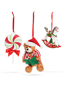 Santa Stop Here Belkie Bear & Rocking Horse Ornament, Set of 3