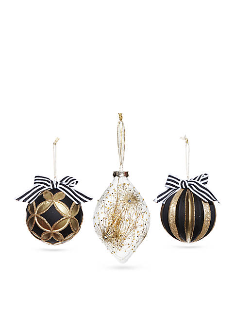 Home Accents® Joyeux Noel Black and Gold Ornament,