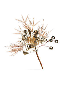 All That Glitters Metal Poinsettia Pick, Set of 3