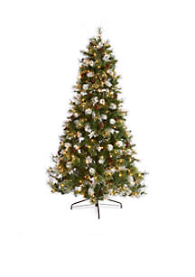 7.5 ft Frosted New England Spruce Mixed Tip Glittered Tree