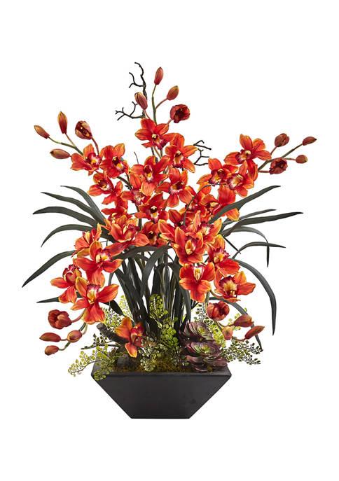 Nearly Natural Cymbidium Orchid Silk Arrangement with Black