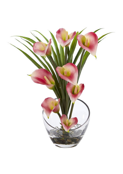 Nearly Natural Calla Lily and Grass Arrangement in