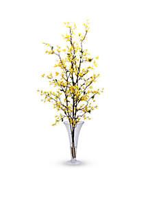 Forsythia With Vase Silk Flower Arrangement