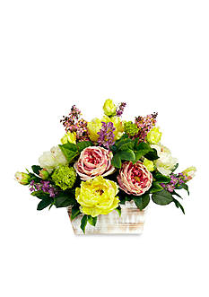 Nearly Natural Mixed Floral With White Wash Planter Silk Arrangement