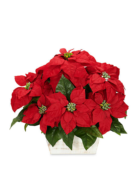 Nearly Natural Poinsettia With White Wash Planter Silk