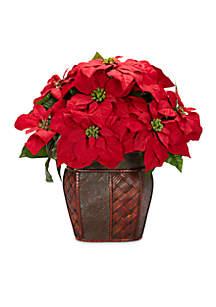 Poinsettia With Decorative Vase Silk Arrangement