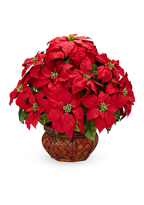 Nearly Natural Poinsettia With Decorative Planter Silk