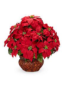 Poinsettia With Decorative Planter Silk Arrangement