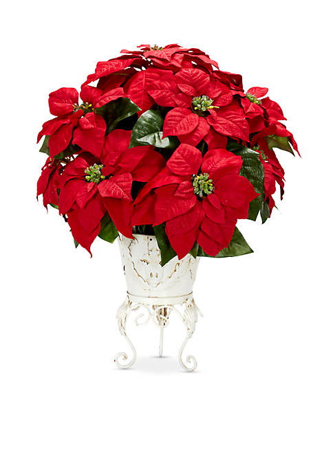 Nearly Natural Poinsettia with Metal Planter Silk Flower