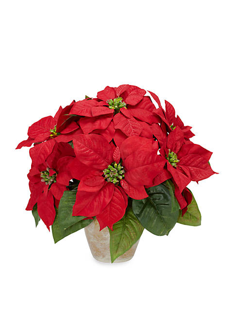 Nearly Natural Poinsettia with Ceramic Vase Silk Flower
