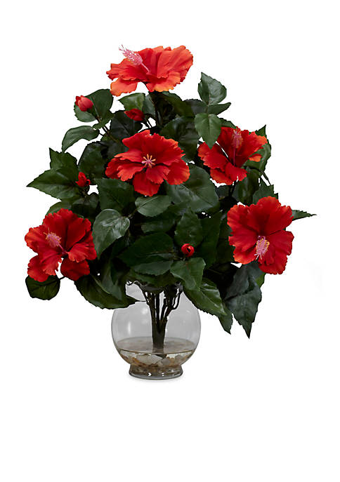 Nearly Natural Hibiscus With Fluted Vase Silk Flower