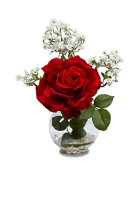Rose & Gypso With Fluted Vase Silk Flower Arrangement