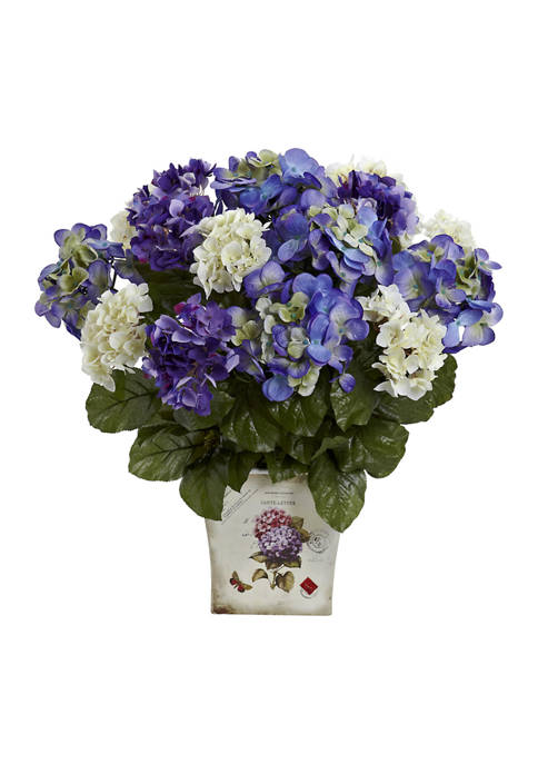 Nearly Natural Assorted Hydrangea with Floral Planter
