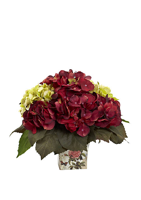 Nearly Natural Green and Burgundy Hydrangea Arrangement