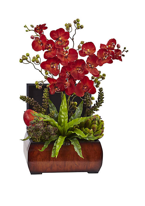 Nearly Natural Autumn Orchid and Succulent Arrangement with