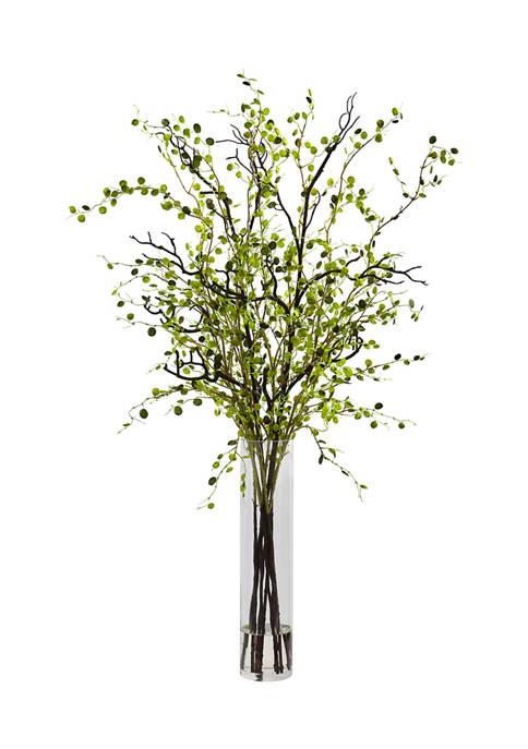 Night Willow Arrangement with Glass Vase