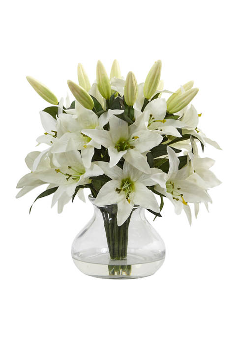 Nearly Natural Lily Silk Arrangement with Glass Vase